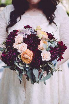 Deep Burgundy Colored Wedding Bouquet | Artful Vintage Inspired Austin Texas Wedding | Photograph by Suzuran Photography  http://www.storyboardwedding.com/sxsw-engagement-hotel-saint-cecilia-austin-texas-wedding/