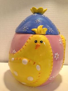 Easter Cookie Jar Canister Quilted Chick Pattern Pink Yellow Blue