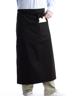 These black half aprons are made from a durable polycotton, making them hard wearing and easy care.