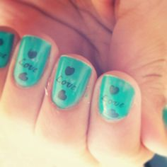 Nail Nails Green Love