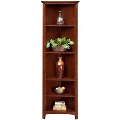 Arts & Crafts Chocolate Corner Bookcase - Value City Furniture (€270) ❤ liked on Polyvore featuring home, furniture, storage & shelves, bookcases, bookcase, book case, cabinet, muebles, dark brown bookshelves and craftsman furniture