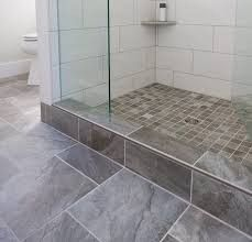 How To Tile A Shower Curb.Gray Floor And Shower Curb In 2019 Primitive Bathrooms