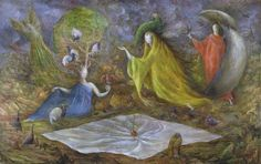 The Pomps of the Subsoil by Leonora Carrington, 1947. Oil on canvas, 58.5 x 93 cm. Sainsbury Centre for Visual Arts, University of East Anglia, Norwich, England.  Tate, Liverpool begins a Carrington exhibition on March 6.
