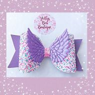 Handmade Cute Lilac & Bubblegum Glitter Shimmer Angel Wings Fabric Bow Hair Clip