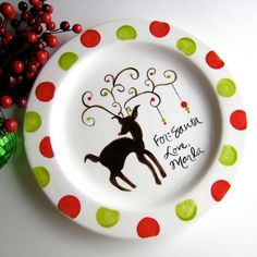 Cookies for Santa sharpie plate | Cookies for Santa Plate - cute polka dots | Holidays