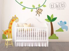 Baby Safari Wall Decals Cute Animals Stickers by TikitiWallDecals, $89.00