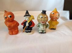 Original-Vintage-1930s-JAPAN-3-034-Halloween-BISQUE-Figures-Pumpkin-Witch-L-K