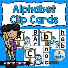 These Alphabet Clip Cards are perfect fo help your preschool and kindergarten students identify uppercase and lowercase letters in the alphabet.  Use this activity as a winter literacy center  so your students become more familiar with the letters.  They