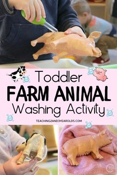This farm animals activity is a great way to strengthen fine motor skills. Fill a bin with soapy water and invite your toddlers to wash the animals using brushes! activities Farm Animal Washing Activity for Toddlers Farm Activities, Painting Activities, Animal Activities, Infant Activities, The Animals, Farm Animals For Toddler, Farm Unit, Pig Farming, Farm Theme