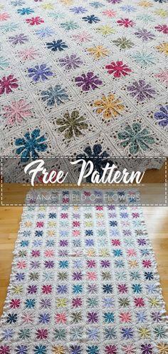 Blanket Field of Flowers – Free Pattern – Free Crochet Crochet Afghans, Crochet Quilt Pattern, Granny Square Crochet Pattern, Crochet Squares, Crochet Blanket Patterns, Crochet Motif, Crochet Designs, Free Crochet, Crochet Blankets
