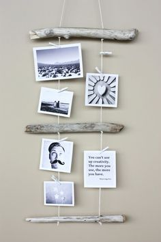 DIY Driftwood Photo Display. Could work this into a Christmas decoration