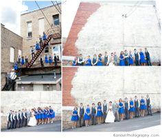 Bridesmaids in royal blue. Fun wedding party photos. Minneapolis Wedding Photography