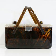 60s Lucite Swirl Basket Handbag vintage, brown, clear