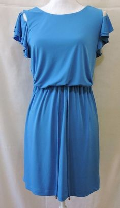 Jessica Simpson Blue Tiered Sleeve Party Dress Size S #JessicaSimpson