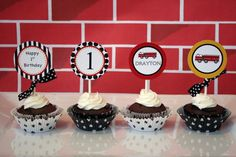 Printable Fire Truck Cupcake Toppers