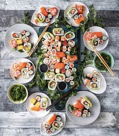 Cease what you are doing, and dive head first into Mega Sushi Platter. What's your favourite sort of sushi roll? 🍣 👉Get the & extra Sushi recip… Sushi Platter, Seafood Platter, Sushi Buffet, Cute Food, Yummy Food, Sushi Night, Sushi Love, Food Porn, Sushi Party