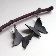 Butterfly Silhouette Earrings  eco friendly by Gloomstopper,  ((diy-fietsbandbicycle-inner-tubes))