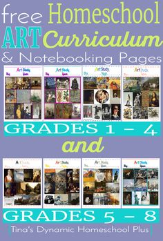 Free Homeschool Art Curriculum and Notebooking Pages. Grades 1 to 8 @ Tina's Dynamic Homeschool Plus