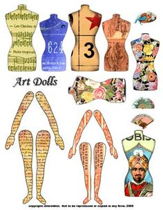 ART DOLLS torso arms and legs DIGITAL collage sheet download - Click Image to Close