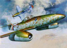 Otro Me-262, en esta ocasión combatiendo contra un Mustang