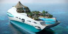 Youve probably seen various design of luxury yachts but for sure you havent seen such creative one. UK based company Yacht Island Design Ltd. moved up to a new level and has combined giant-sized personal luxury yacht and tropical island. Yacht Design, Paradise Island, Paradise Falls, Dream Vacations, Vacation Spots, Vacation Ideas, Tropical Island, Floating House, Floating Island