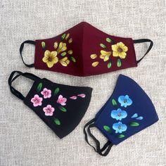 Easy Face Masks, Diy Face Mask, Fabric Colour Painting, Mouth Mask Design, Bengali Bridal Makeup, Mask Painting, Diy Mask, Fashion Face Mask, Black And Navy