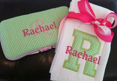 Monogramed Burp cloth/baby wipe case