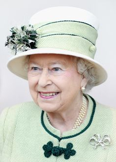 Queen Elizabeth II. I suspect this may have been shot, either on St. Patrick's Day, or on a visit to Ireland.