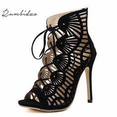 599b247054775c Hot sales Summer Style Peep Toe Sandals High Heel Pumps Sandals Back Zipper Boots  Women Sexy Shoes Black Roman Sandals