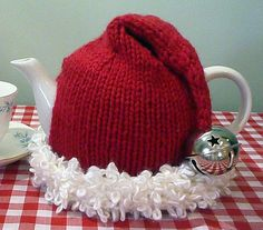 Santa hat Tea Cozy Fits 4 to 6 cup teapot by teapothats on Etsy, $45.00