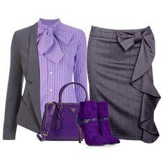 Сочетание цветов в одежде сиреневый и серый