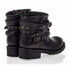 Pre-owned Ash Theorem Black Studded Leather Biker Bootie 190107e ($185) ❤ liked on Polyvore featuring shoes, boots, ankle booties, black, leather ankle boots, black booties, studded ankle boots, ankle boots and low heel ankle boots