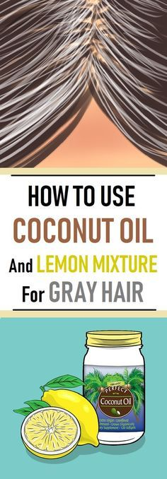 Our hair gets its color by a natural pigment in the hair follicles. As we age, the production of the pigment decreases, which leads to the appearance of gray hairs. Luckily, a mixture of lemon juice and coconut oil can protect the pigment and reverse t. Grey Hair Remedies, Natural Remedies, Natural Hair Care, Natural Hair Styles, Grey Hair Styles, Natural Beauty, Coconut Oil Hair Mask, Hair Repair, Tips Belleza