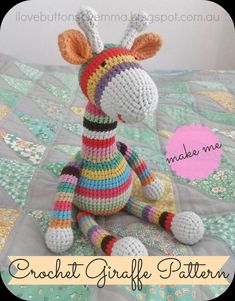 I Love Buttons By Emma: Crochet amigurumi Giraffe Pattern free Crochet Diy, Crochet For Kids, Crochet Crafts, Crochet Dolls, Crochet Projects, Easy Crochet Animals, Crochet Frog, Crochet Baby Toys, Crocheted Toys