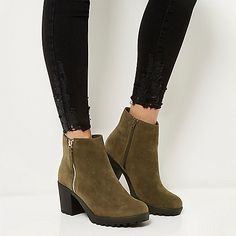 Khaki block heel ankle boots - boots - shoes / boots - women