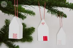paper house template ornament...maybe make out of felt and stuff instead?