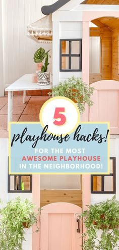 Here are easy additions you can add to make your kid's playhouse the best playhouse in the neighborhood! Painted Playhouse, Playhouse Windows, Kids Wooden Playhouse, Plastic Playhouse, Diy Playhouse, Playhouse Outdoor, Brown Paint Colors, Diy Awning, Kid Table