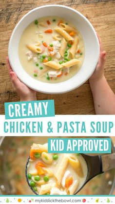 Comforting Creamy Chicken Soup with Pasta – A soup kids love A comforting creamy chicken pasta soup with pasta, a homemade soup that is easy to make and kid friendly, a great family dinner Healthy Sweet Snacks, Healthy Meals For Kids, Healthy Cooking, Kids Meals, Healthy Eating, Healthy Recipes, Family Meals, Healthy Food, Clean Eating