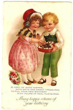 チョコレートを食べる子どもたち - Snowdrop Postcards アンティークカード専門店