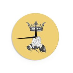 "Catherine Holcombe ""Queen Bee"" Canary Yellow Wall Clock"