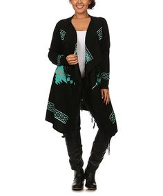 This cardigan is amazing, just amazing.    Look at this #zulilyfind! Green Geometric Fringe Open Cardigan - Plus #zulilyfinds