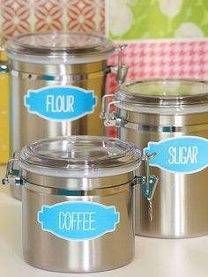 Get these FREE downloadable canister labels to keep your kitchen organized: http://www.bhg.com/kitchen/remodeling/kitchen-projects/diy-kitchen-storage-ideas/?socsrc=bhgpin030614printablecanisterlabels&page=9