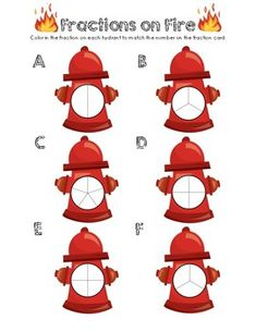 """This is a Fire Fighter fraction math center unit. Students grab a """"Fractions on Fire"""" Card, read the number, and color the hydrant fraction on the worksheet provided. Fractions Worksheets, Math Fractions, Firefighter School, Community Helpers, School Themes, Fun Ideas, More Fun, Free Printables, Red Carpet"""