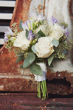 "exchange cala lillies for the roses and i love this bouquet...again the ""just picked"" look"
