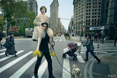 """From the Top - """"The fact that she's able to do it in the moment is her unique talent,"""" says Dunham's Girls costar Adam Driver. Dunham wears a Rochas cream beaded top, tulle skirt, and yellow flats with feathers. On Driver: J.Crew Wallace & Barnes sweater. Levi's jeans.Fashion Editor: Tonne Goodman."""