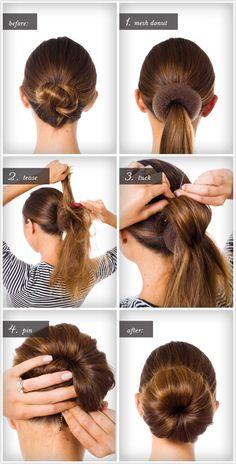 How To: Big Bun Tutorial hair-hair-hair Pretty Hairstyles, Easy Hairstyles, Girl Hairstyles, Donut Bun Hairstyles, Hairstyles 2016, Hair Bun Maker, Step By Step Hairstyles, Great Hair, Hair Hacks