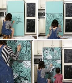 Maybe make my fridge do a little longer? Go vote for her make over alisaburke: mrs meyers contest! Refrigerator Makeover, Paint Refrigerator, Painted Fridge, Upcycled Furniture, Painted Furniture, Diy Furniture, Ugly Fridge, Painting Appliances, Diy Casa