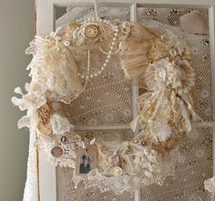 Nanas Hope Chest Wreath / Vintage Lace Wreath / Mothers Day Wreath / Romantic by treasured2