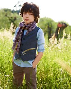i will dress my boy in vests and button down shirts!! jeans and canvas shoes... no scarf however