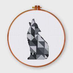 Geometric Wolf modern cross stitch pattern Minimalist counted